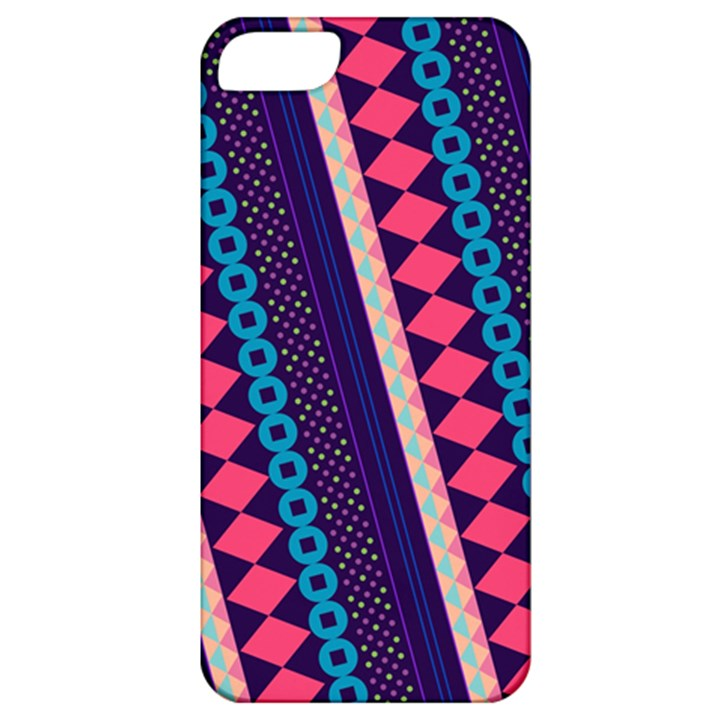 Purple And Pink Retro Geometric Pattern Apple iPhone 5 Classic Hardshell Case