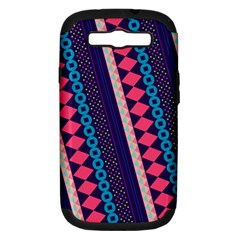 Purple And Pink Retro Geometric Pattern Samsung Galaxy S Iii Hardshell Case (pc+silicone) by DanaeStudio