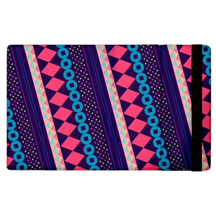 Purple And Pink Retro Geometric Pattern Apple iPad 2 Flip Case