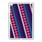 Purple And Pink Retro Geometric Pattern Apple iPad Mini Case (White) Front