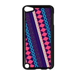 Purple And Pink Retro Geometric Pattern Apple Ipod Touch 5 Case (black) by DanaeStudio