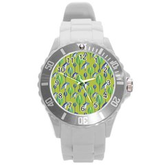 Tropical Floral Pattern Round Plastic Sport Watch (L)