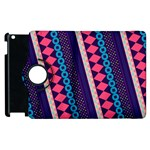 Purple And Pink Retro Geometric Pattern Apple iPad 3/4 Flip 360 Case Front