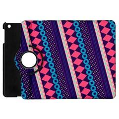 Purple And Pink Retro Geometric Pattern Apple iPad Mini Flip 360 Case