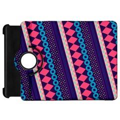 Purple And Pink Retro Geometric Pattern Kindle Fire HD Flip 360 Case