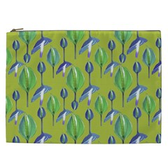 Tropical Floral Pattern Cosmetic Bag (XXL)