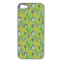 Tropical Floral Pattern Apple iPhone 5 Case (Silver)