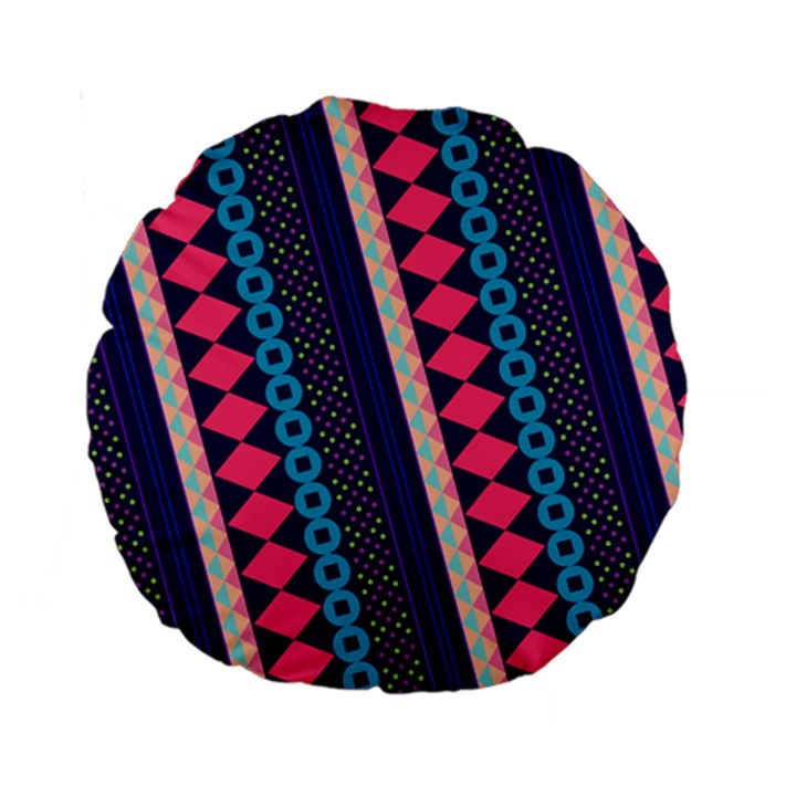 Purple And Pink Retro Geometric Pattern Standard 15  Premium Round Cushions