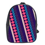 Purple And Pink Retro Geometric Pattern School Bags (XL)  Front