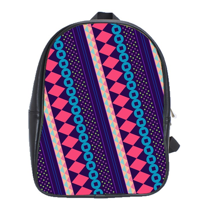 Purple And Pink Retro Geometric Pattern School Bags (XL)