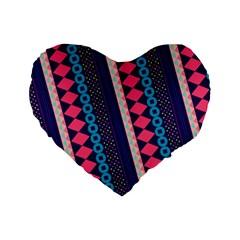 Purple And Pink Retro Geometric Pattern Standard 16  Premium Heart Shape Cushions