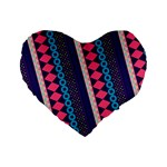 Purple And Pink Retro Geometric Pattern Standard 16  Premium Heart Shape Cushions Front