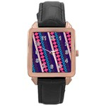 Purple And Pink Retro Geometric Pattern Rose Gold Leather Watch