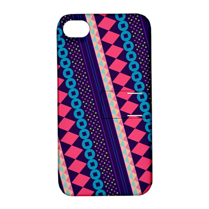 Purple And Pink Retro Geometric Pattern Apple iPhone 4/4S Hardshell Case with Stand