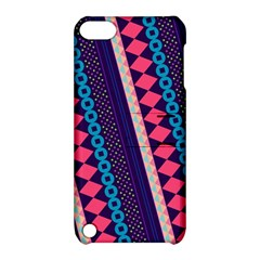 Purple And Pink Retro Geometric Pattern Apple Ipod Touch 5 Hardshell Case With Stand by DanaeStudio
