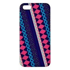 Purple And Pink Retro Geometric Pattern Apple iPhone 5 Premium Hardshell Case