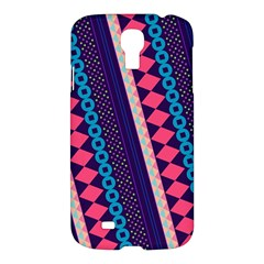 Purple And Pink Retro Geometric Pattern Samsung Galaxy S4 I9500/i9505 Hardshell Case by DanaeStudio