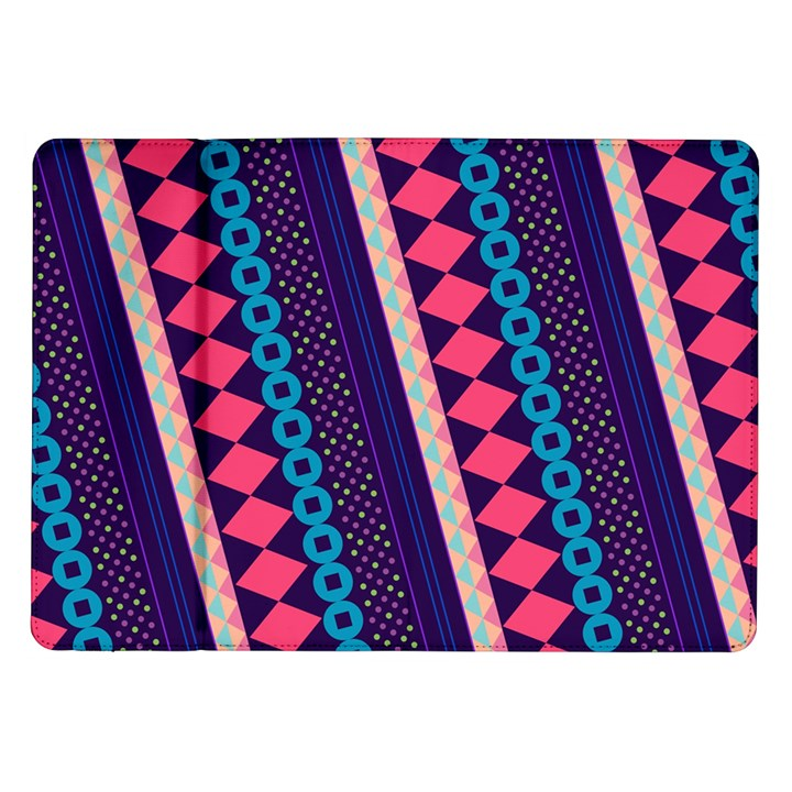 Purple And Pink Retro Geometric Pattern Samsung Galaxy Tab 10.1  P7500 Flip Case