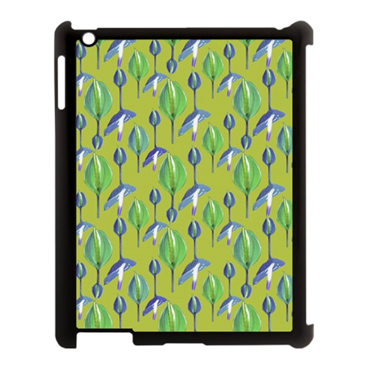 Tropical Floral Pattern Apple iPad 3/4 Case (Black)