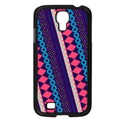 Purple And Pink Retro Geometric Pattern Samsung Galaxy S4 I9500/ I9505 Case (black) by DanaeStudio