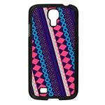 Purple And Pink Retro Geometric Pattern Samsung Galaxy S4 I9500/ I9505 Case (Black) Front