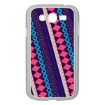 Purple And Pink Retro Geometric Pattern Samsung Galaxy Grand DUOS I9082 Case (White) Front