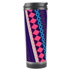 Purple And Pink Retro Geometric Pattern Travel Tumbler by DanaeStudio
