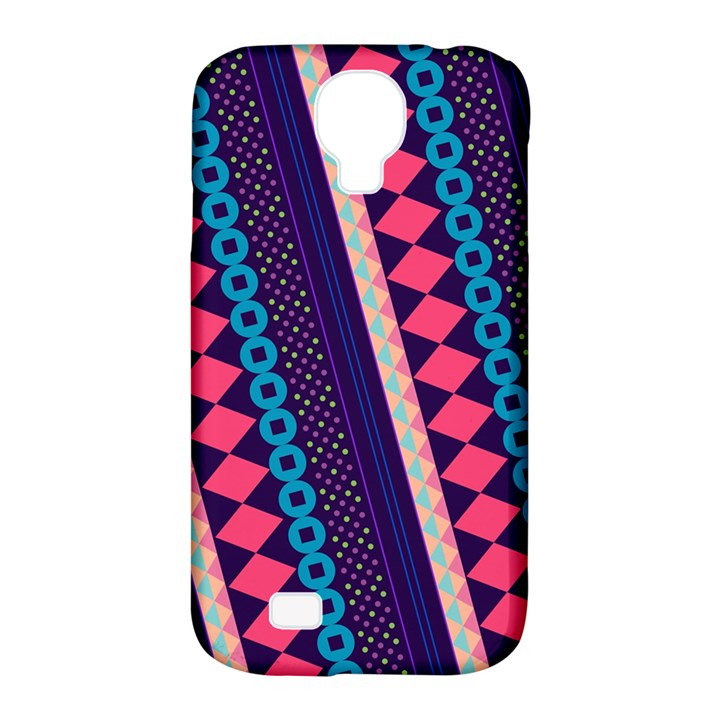 Purple And Pink Retro Geometric Pattern Samsung Galaxy S4 Classic Hardshell Case (PC+Silicone)