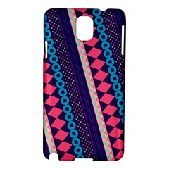 Purple And Pink Retro Geometric Pattern Samsung Galaxy Note 3 N9005 Hardshell Case by DanaeStudio