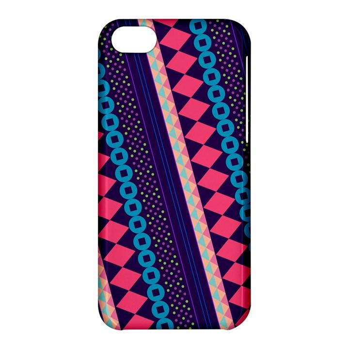 Purple And Pink Retro Geometric Pattern Apple iPhone 5C Hardshell Case