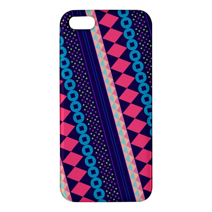 Purple And Pink Retro Geometric Pattern iPhone 5S/ SE Premium Hardshell Case