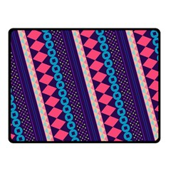 Purple And Pink Retro Geometric Pattern Double Sided Fleece Blanket (small)