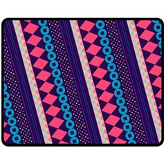 Purple And Pink Retro Geometric Pattern Double Sided Fleece Blanket (medium)  by DanaeStudio