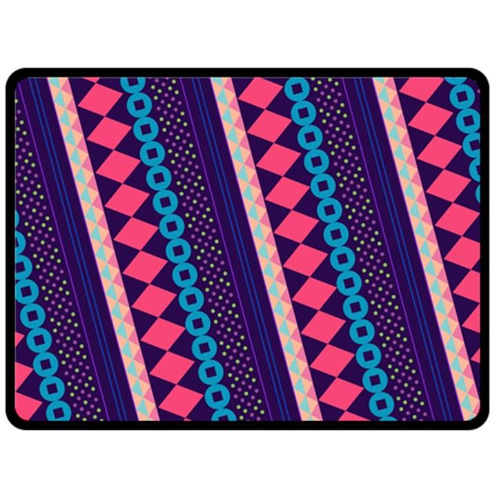 Purple And Pink Retro Geometric Pattern Double Sided Fleece Blanket (Large)