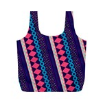 Purple And Pink Retro Geometric Pattern Full Print Recycle Bags (M)  Back