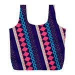 Purple And Pink Retro Geometric Pattern Full Print Recycle Bags (L)  Front