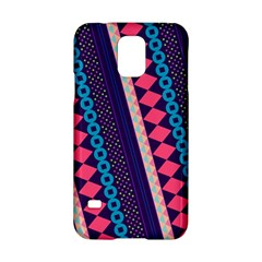 Purple And Pink Retro Geometric Pattern Samsung Galaxy S5 Hardshell Case  by DanaeStudio