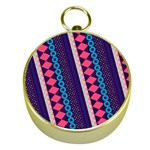 Purple And Pink Retro Geometric Pattern Gold Compasses Front