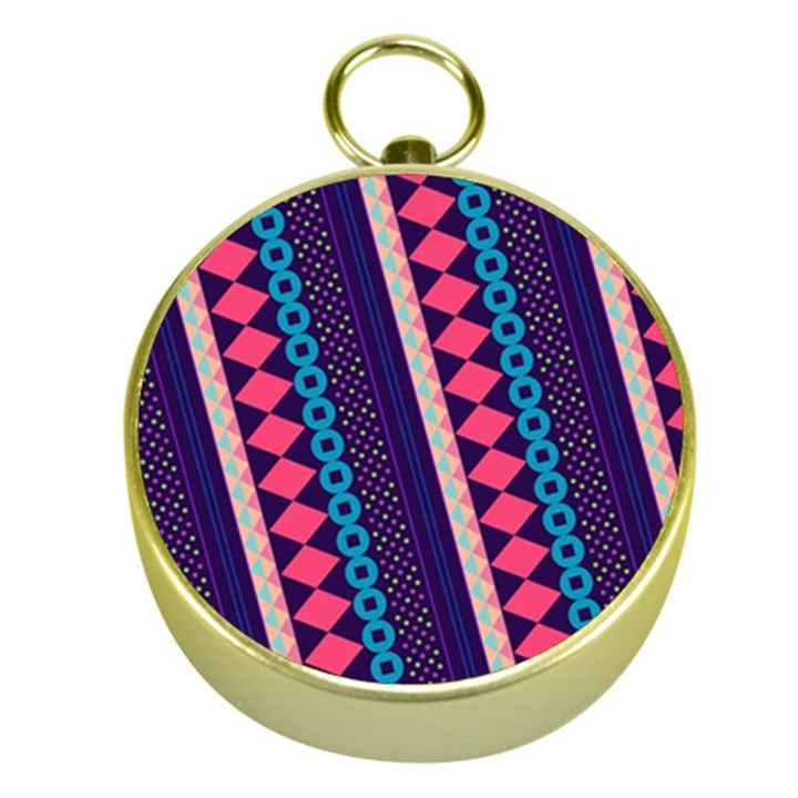 Purple And Pink Retro Geometric Pattern Gold Compasses