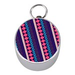 Purple And Pink Retro Geometric Pattern Mini Silver Compasses Front