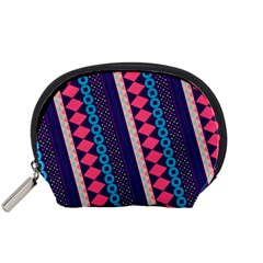 Purple And Pink Retro Geometric Pattern Accessory Pouches (small)
