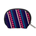 Purple And Pink Retro Geometric Pattern Accessory Pouches (Small)  Back
