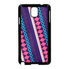 Purple And Pink Retro Geometric Pattern Samsung Galaxy Note 3 Neo Hardshell Case (black) by DanaeStudio
