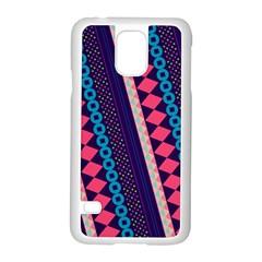 Purple And Pink Retro Geometric Pattern Samsung Galaxy S5 Case (white) by DanaeStudio