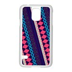 Purple And Pink Retro Geometric Pattern Samsung Galaxy S5 Case (White) Front