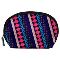 Purple And Pink Retro Geometric Pattern Accessory Pouches (large)  by DanaeStudio