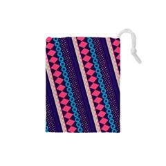 Purple And Pink Retro Geometric Pattern Drawstring Pouches (small)  by DanaeStudio