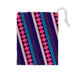 Purple And Pink Retro Geometric Pattern Drawstring Pouches (large)