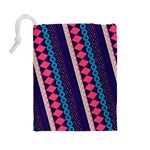 Purple And Pink Retro Geometric Pattern Drawstring Pouches (Large)  Back