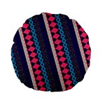 Purple And Pink Retro Geometric Pattern Standard 15  Premium Flano Round Cushions Back